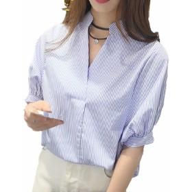 (TERA Dream) 背中 ボタン ブラウス 縦 ストライプ 5分袖 カットソー 薄め生地 シャツ レディース (L, ブルー)