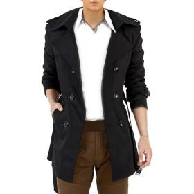 (ドートル オトゥール) D'autres hauteurs 2色 3サイズ 長袖 襟付き ビジネス カジュアル トレンチ ロング 丈 コート 大きい サイズ (06ブラックL)