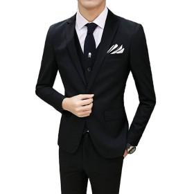 テーラードジャケット スーツ メンズ ジャケット メンズスーツ 3ピース スリム ビジネス 結婚式 ブラックスーツ 喪服 礼服 スラックス 通勤 仕事 オールシーズン スリーピース 1つボタン 紳士服 入社式 卒業式 就職
