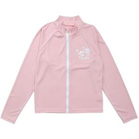キッズ水着 女の子用長袖ラッシュガード 紫外線防止 sw2329 (140cm, ピンク)