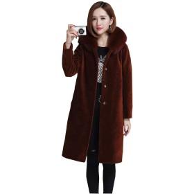 フォックスファーコート ウールコート ロングコート レディース 大きいサイズ 毛皮 痩身 防寒服 秋冬 ブラック・オリーブ・カラメル色