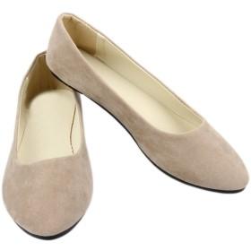 [ワン アンブ] パンプス スエード カジュアル ぺたんこ靴 歩きやすい フラットシューズ レディース ベージュブラウン 23.0cm