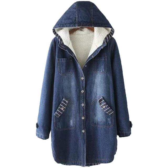 Alppv ジャケット コート レディース デニム ジャケットフード付き 裏起毛 ロングコート ゆったり 無地 秋 冬 防寒 防風 暖かい コートピンクAL-5