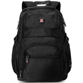 SWISSWIN 通勤 通学 大容量 バッグ リュックサック ブランド 大きい アウトドア バッグパック A4 旅行 鞄 大人 ビジネスリュック 登山 軽量 シンプル 撥水 黒