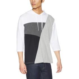 [ウィゴー] WEGO ジオメ 切替 T シャツ パーカ 7分袖 M ホワイト メンズ