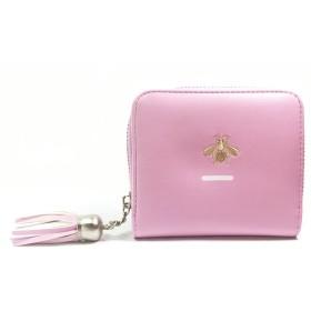 DABURYU.SI 可愛い財布 レディース 二つ折り 花柄 小銭入れ ミニ財布 コンパクト ポーチ カード入れ 多機能 シンプル 上品6色選択可 (バラ色)