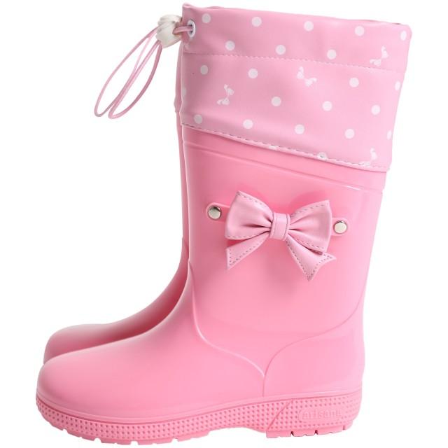 [アリサナ] レインブーツ フード付き キッズ 女の子 ピンク 20cm