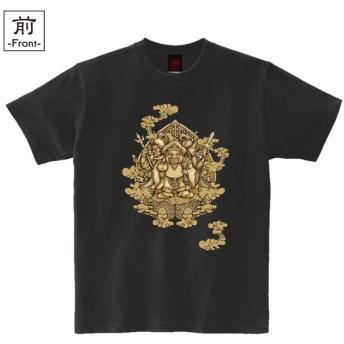 (纏) メンズ 和柄 半袖 Tシャツ 三面大黒天 黒 Lサイズ