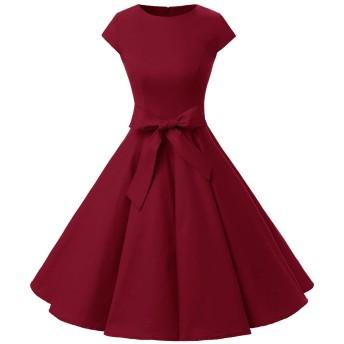 ドレッシースター スイングワンピース レトロ ドレス 50年代 ベルト付き レディーズ ダックレッド Lサイズ