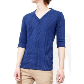 Tシャツ メンズ 大きいサイズ 小さいサイズ Vネック 半袖 長袖 七分袖 無地 テレコ素材 ストレッチ カットソー XL ブルー(7分袖)