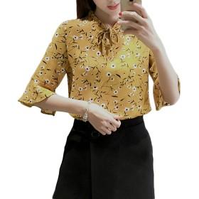 [もうほうきょう] レディースブラウス シフォンシャツ tシャツ 花柄 半袖 夏 薄手 春 夏 ボタニカル柄 ブラウス トープスリボン  (イエロー, XL)