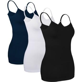 iLoveSIA (アイラブシア) レディーズ キャミソール インナーウェア 女性下着 ストレッチ 3枚セット 黒+白+紺 M
