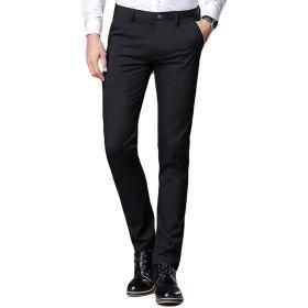 (チーアン)Tiann ロングパンツ メンズ スラックス チノパン ビジネスパンツ スーツパンツスリム ストレッチ スリムパンツ ストレート ウォッシャブル ビジネス シンプル カジュアル ノータック スリムストレート ブラック1 36