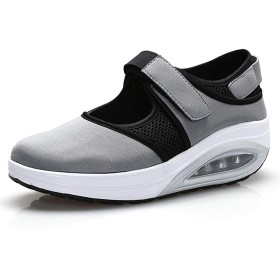 [Tisomen] ウォーキング ランニングシューズ ウォーキングシューズ 病院 シューズ 靴 クッション 選び方 軽量 通気 事務 サンダル 23.5cm グレー 灰37