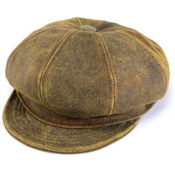 ハンチング帽 メンズ 帽子 ニューヨークハット アンティーク 牛革 レザー キャスケット/ブラウン/ANTIQUE LEATHER SPITFIRE 9245