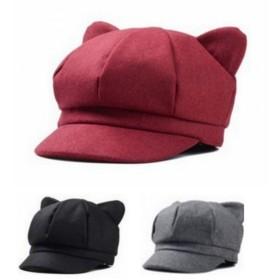 Spinas(スピナス)  レディース キャスケット キャスケット帽 帽子 猫 猫耳 かわいい あったか キルティング  目立つ  クラシカル 散歩 紫外線 上品 全3色(ブラック グレー レッド)  (レッド)