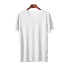 Ayistelu 無地 tシャツ メンズ 短袖 夏 超薄型 VネックTシャツ ボディーフィット スポーツ レジャー 通気性 クール 汗吸収 速乾 半袖 インナーシャツ (ホワイト, XXL=日本サイズXL)