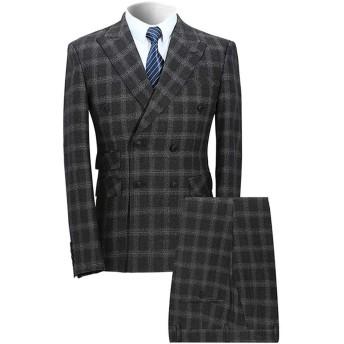 WEEN CHARM(ウィンチャーム)スーツ メンズ スリム スリーピースセットアップ ダブルスーツ チェック柄 ブラック xl