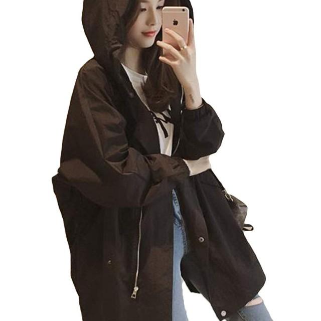 Alppv レディース コート ウインドブレーカー ジャケット 韓国風 長袖 ウインコートゆったり ロング 薄手 秋 カジュアル ファッション 学生 通学 きれいめブラックAL-3