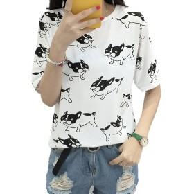 [アズルテ] 半袖 犬柄 Tシャツ レディースファッション ブルドッグ 柄 プリント M~XXL 大きいサイズ おもしろ tシャツ XXL ホワイト