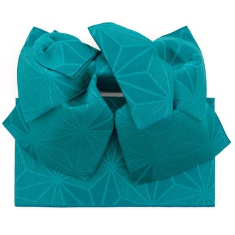 (ソウビエン) 作り帯 Jouer ete couleur 青 ターコイズブルー 麻の葉 リボン りぼん 浴衣帯 結び帯 付帯 つくり帯 浴衣向け 女性用