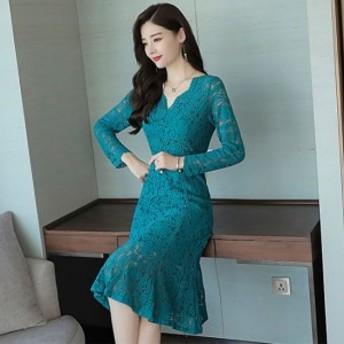 パーティードレス ワンピース ひざ丈 膝丈 長袖 レース 結婚式 二次会 お呼ばれ 大きいサイズ 全4色 韓国