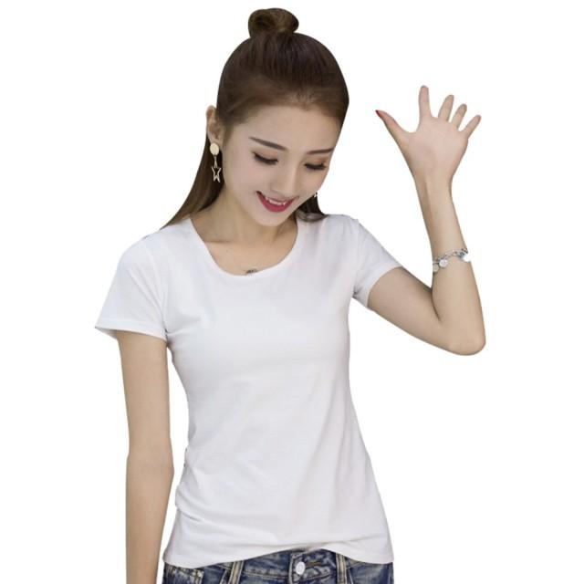 【TaoTech】 Tシャツ レディース 半袖 無地 トップス コットン インナー クルーネック カットソー (コットン/ホワイト, S)