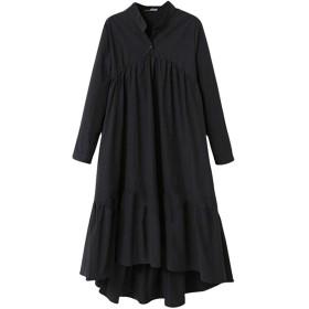 Aeneontrue レディース ワンピース 長袖 コットン ロング丈 無地 イレギュラーヘム スタンドカラー Aライン プリーツ ゆったり 大きいサイズ おしゃれ かわいい きれいめ ドレス 黒 LL