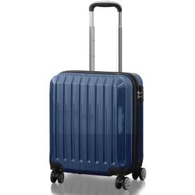 FIELDOOR TSAロック搭載スーツケース [STRAIGHT NEO] 【Sサイズ/ブルー】 機内持込 ダブルキャスター 鏡面ヘアライン仕上げ トラベルキャリーケース リブ構造 ポリカーボ樹脂 軽量 耐衝撃 容量拡張機能 ダブルファスナー