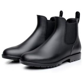 防水 レインブーツ ブーツ レインシューズ サイドゴア 雨靴 男性用 靴 M BLACK ブラック
