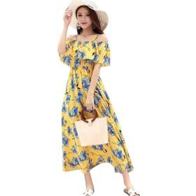 (グードコ) シフォン ボートネック レディース 花柄 ワンピース ビーチワンピース ドレス ロング丈 着痩せ 柔らか イエローL