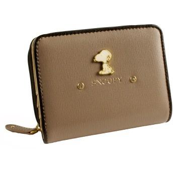 [スヌーピー] SNOOPY スヌーピー 財布 二つ折り財布 レディース ラウンドファスナー ブローチ キュート エレガント ビジュー カード入れ 小銭入れあり 女性用 (グレー)