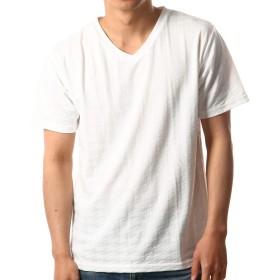 (ノータベネ)Nota Bene Mサイズ ホワイト 半袖Tシャツ メンズ Vネック 千鳥柄 リンクスジャガード メンズ