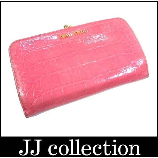 new products 148f2 ca2e1 ミュウミュウ がま口小銭入れ付き二つ折り財布 型押しパテント ...