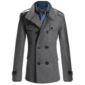 トレンチコート メンズ チェスターコート ロング ビジネス メンズファッション アウター コート ダブルボタン 紳士服 秋冬 (グレー, XL)