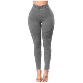 Qiangjinjiu Women Denim Pants Colombian Mid Rise Skinny Butt Lifter Jeans Gery XL