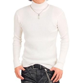 [トップイズム] タートルネック ニット メンズ セーター 2重臼編み タイト 無地 長袖 5-オフホワイト XL