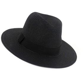 SCILLO(エスシーアイエルエルオ) 帽子 麦わら帽子 ストローハット ペーパーポケッタブルハット パナマ帽 中折れ ハット サイズ調節 折りたたみ可能 洗える帽子 リボン付き メンズ レディース (ブラック)