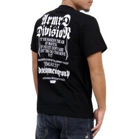 (アスナディスペック)ASNADISPEC メンズ tシャツ 大きいサイズ 半袖 ブランド オールドイングリッシュ 調 プリント ロゴtシャツ as-rem-5101 (L, BLACK)