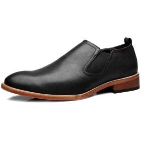 [NIUBAN] スリッポン サイドゴア メンズ ビジネスシューズ 本革 ストレートチップ ローカット 靴 ウォーキング シューズ 革靴 リーガル 春秋 防滑