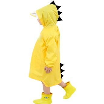Gamtec 子供 レインコート 雨具 キッズ レインウェア 男の子 女の子 小学生 通学 3D 漫画 小さな恐竜 自転車 リュック対応 雨合羽 軽量 レディース EVA ポンチョ 雨具 男女兼用 完全防水 袖つき 収納袋付き 梅雨対策