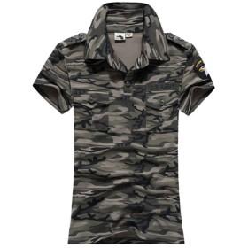 迷彩柄 半袖 ポロシャツ レディース