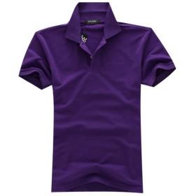 メンズ ポロシャツ 半袖 Tシャツ2018新入荷カジュアル 紳士ポーツゴルフ刺繍無地 シャツ ゆったり リラックス 着やすい すぐ着れる らく 気持ち良い 8カラー (紫, 3XL)