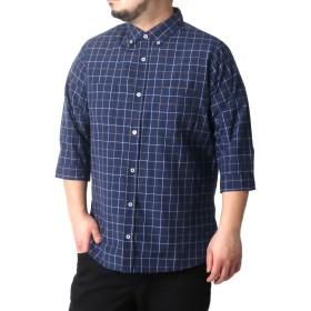 [シネマ] 大きいサイズ メンズ シャツ 7分袖 ボタンダウン 柄3 4L
