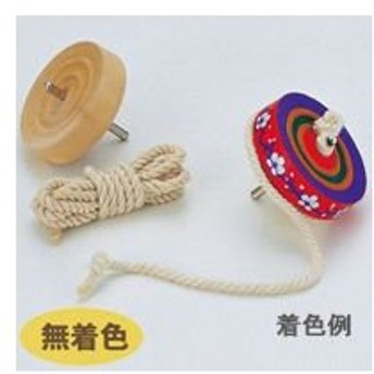 こま 木製 糸引き 紐 ひも付き 鉄芯ゴマ 無着色 投げゴマ 手作り 工作 コマ 知育玩具 木のおもちゃ お正月