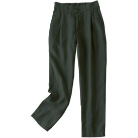 IXIMO レディース ハーレムパンツ ゆったり ロングパンツ 麻 かわいい 無地 バックウェストゴム ポケット付き カジュアル きれいめ テーパードパンツ ズボン アーミーグリーン LL