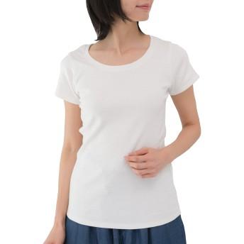 [クロスマーベリー] コットン フライス 半袖 Tシャツ 丸首 伸縮 やわらか シンプル 無地 プルオーバー トップス カジュアル インナー お洒落 きれいめ デイリー ベーシック デザイン レディース 大きいサイズ 女性 大人 (W58 ホワイト 3L)
