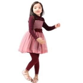 SHUNYI ワンピース 秋冬 女の子 長袖 プリンセススカート チュールスカート ガールズ 子供 キッズ A字スカート ドレス フォーマルワンピース 全3色ワインレッド120cm