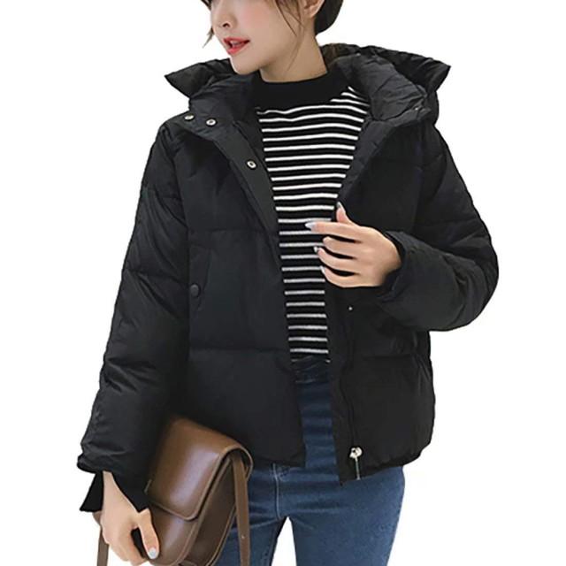 YeeNoke ダウンコート レディース ダウンジャケット アウター 中綿 コート ショート フード付き ゆったり 無地 シンプル 冬 ブルゾン 暖かい 大人 おしゃれ 大きいサイズ