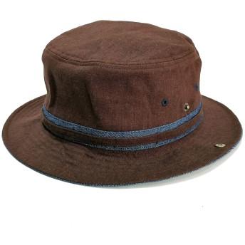 ベーシックエンチ(大きいサイズ)Linen Denim Hat 帽子 ハット 男女兼用 ブラウン